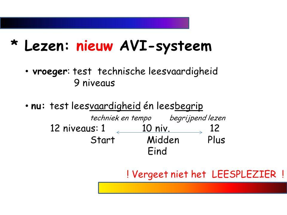 * Lezen: nieuw AVI-systeem vroeger: test technische leesvaardigheid 9 niveaus nu: test leesvaardigheid én leesbegrip techniek en tempo begrijpend leze