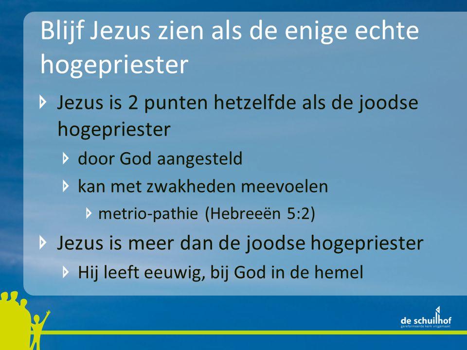 Blijf Jezus zien als de enige echte hogepriester Jezus is 2 punten hetzelfde als de joodse hogepriester door God aangesteld kan met zwakheden meevoele