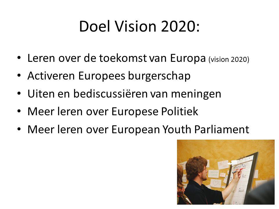 Doel Vision 2020: Leren over de toekomst van Europa (vision 2020) Activeren Europees burgerschap Uiten en bediscussiëren van meningen Meer leren over