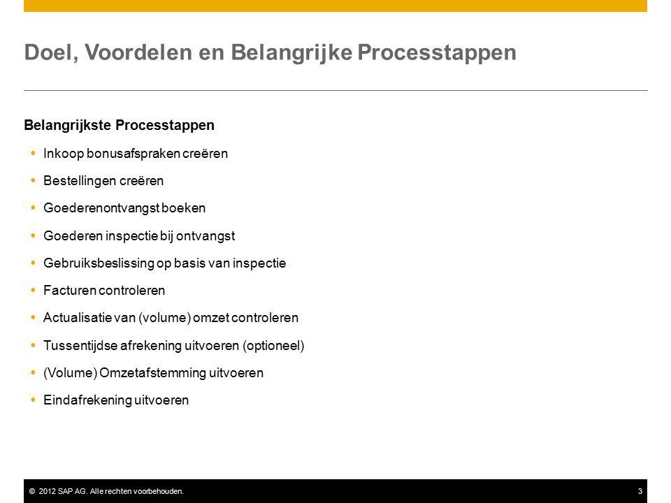 ©2012 SAP AG. Alle rechten voorbehouden.3 Doel, Voordelen en Belangrijke Processtappen Belangrijkste Processtappen  Inkoop bonusafspraken creëren  B