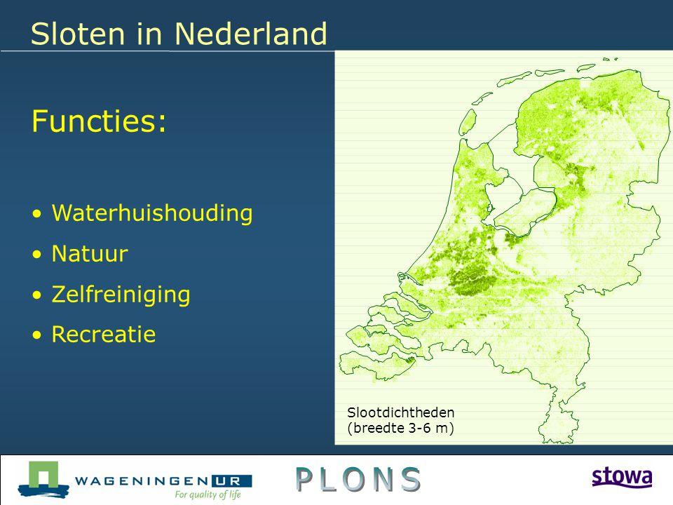 Functies: Waterhuishouding Natuur Zelfreiniging Recreatie Sloten in Nederland Slootdichtheden (breedte 3-6 m)