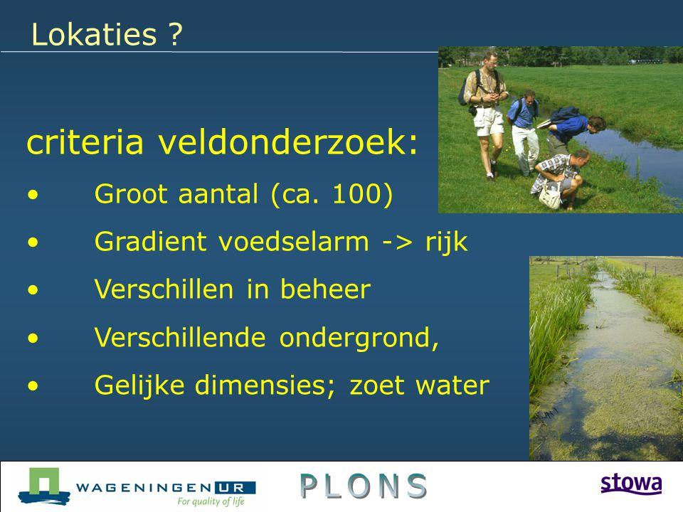 Lokaties ? criteria veldonderzoek: Groot aantal (ca. 100) Gradient voedselarm -> rijk Verschillen in beheer Verschillende ondergrond, Gelijke dimensie