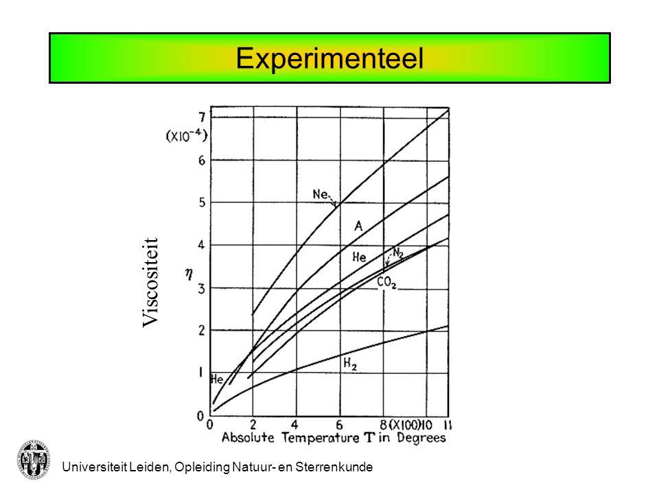 Universiteit Leiden, Opleiding Natuur- en Sterrenkunde Diffusie De totale stroom van deeltjes van soort 2 door vlak is: Alle deeltjes bewegen met gemiddelde snelheid.