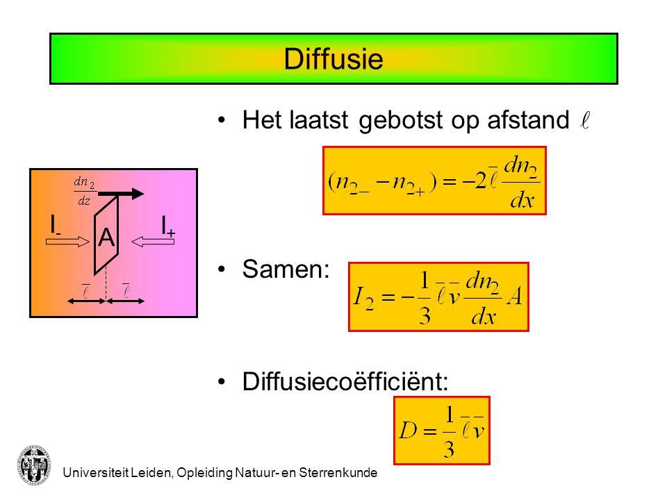Universiteit Leiden, Opleiding Natuur- en Sterrenkunde Diffusie Het laatst gebotst op afstand Samen: Diffusiecoëfficiënt: I-I- I+I+ A