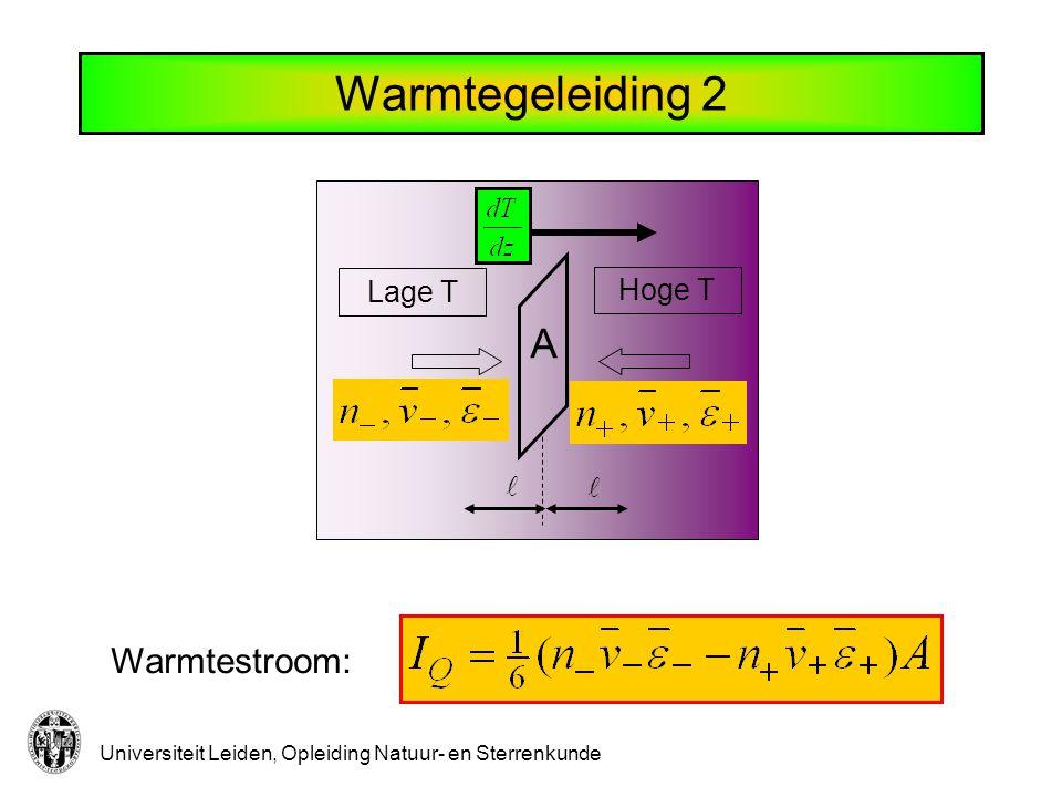 Universiteit Leiden, Opleiding Natuur- en Sterrenkunde Warmtegeleiding 3 Geen deeltjesstroom Laatste botsing op afstand Samen: Verandering in energie: Warmtegeleidingscoëfficiënt: