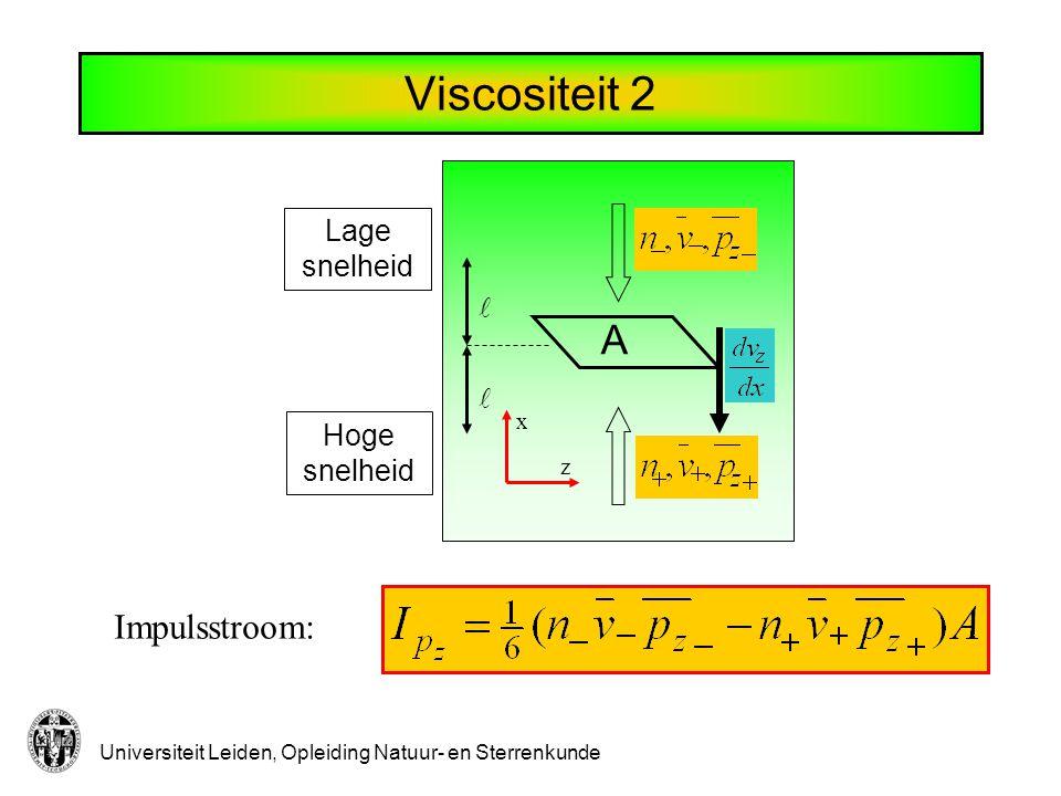 Universiteit Leiden, Opleiding Natuur- en Sterrenkunde Viscositeit 3 Geen deeltjesstroom Laatste botsing op afstand Samen: Gemiddelde waarde van z-component van impuls: Viscositeit: