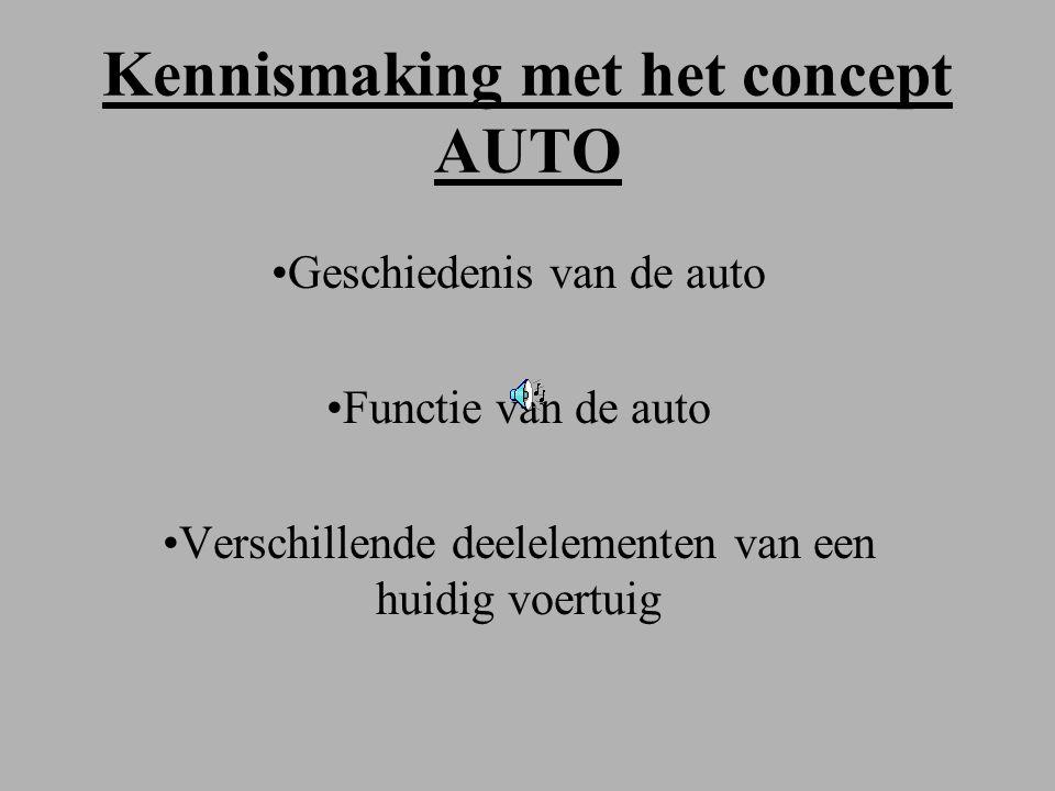 Kennismaking met het concept AUTO Geschiedenis van de auto Functie van de auto Verschillende deelelementen van een huidig voertuig