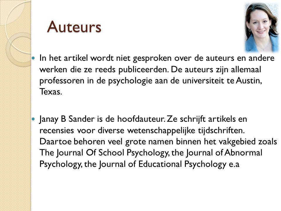 Auteurs In het artikel wordt niet gesproken over de auteurs en andere werken die ze reeds publiceerden.