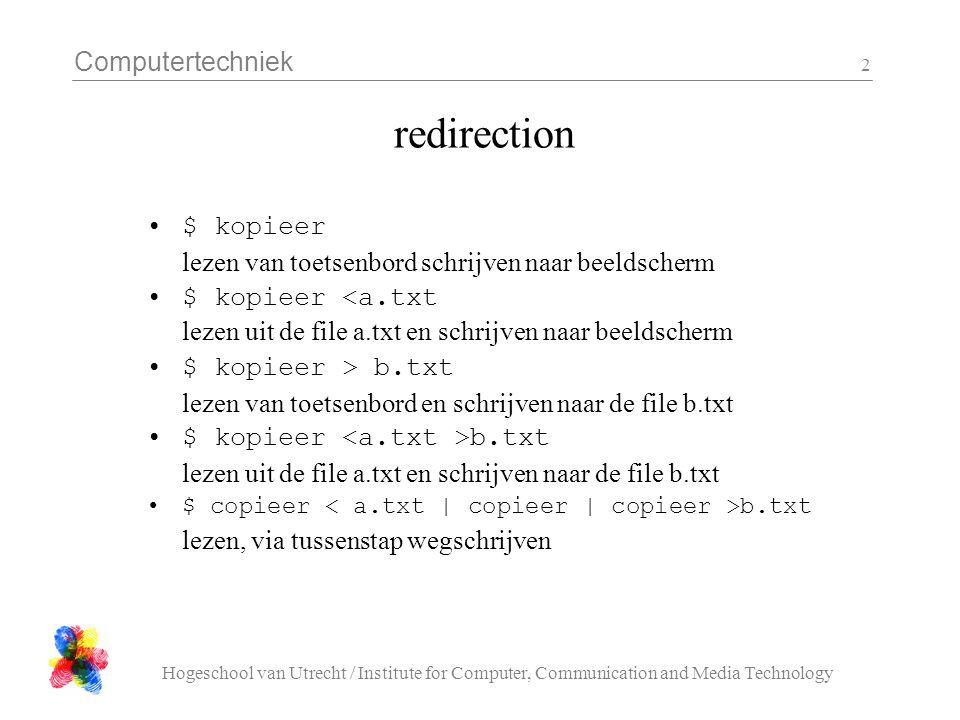 Computertechniek Hogeschool van Utrecht / Institute for Computer, Communication and Media Technology 3 Unix command-line style tools doe 1 ding, doe dat goed werk als filter niet interactief handig voor de 'programmeur' minder handig voor de 'eindgebruiker' wc : word count sort : sorteer unique : remove duplicates