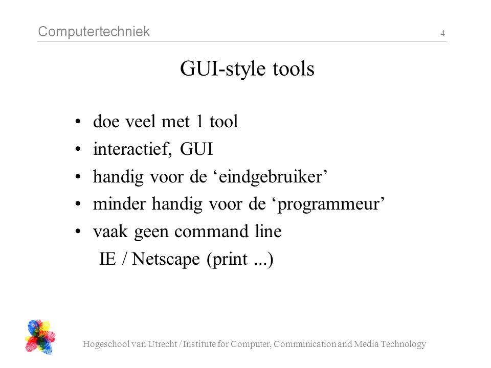 Computertechniek Hogeschool van Utrecht / Institute for Computer, Communication and Media Technology 5 C arrays, C pointers een char array is een verzameling (0..n) characters behalve bij het definieren wordt de lengte *niet* genoemd.
