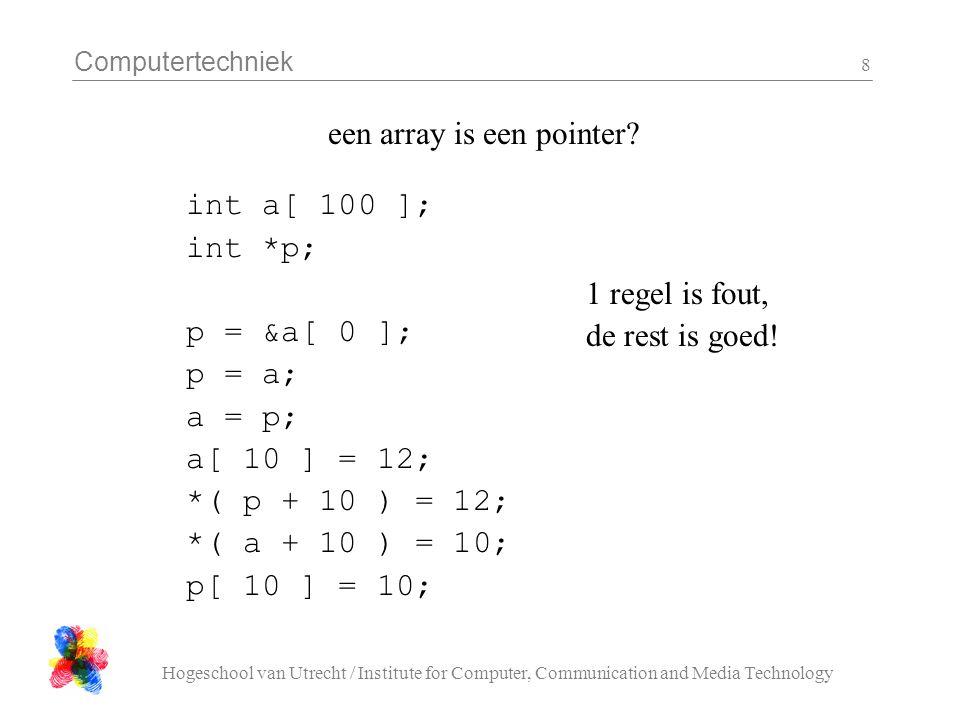 Computertechniek Hogeschool van Utrecht / Institute for Computer, Communication and Media Technology 9 drie mogelijke implementaties van strlen a) int strlen( char s[] ){ int i = 0; while (s[i] != '\0') i++; return i; } b) int strlen( char *s ){ int i = 0; while( *( s + i ) != '\0'){ i++ } return i; } c) int strlen( char *s ){ int i = 0; while( *s != '\0'){ s++; i++ } return i; }
