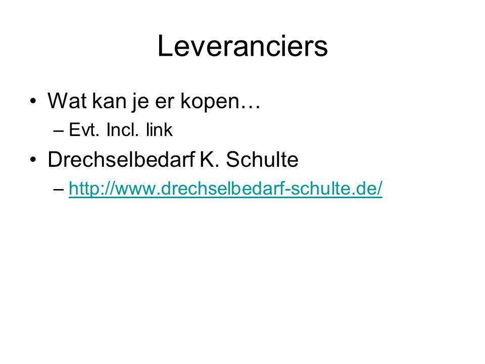 Leveranciers Wat kan je er kopen… –Evt. Incl. link Drechselbedarf K. Schulte –http://www.drechselbedarf-schulte.de/http://www.drechselbedarf-schulte.d