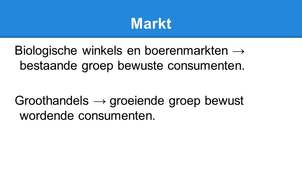 Markt Biologische winkels en boerenmarkten → bestaande groep bewuste consumenten. Groothandels → groeiende groep bewust wordende consumenten.