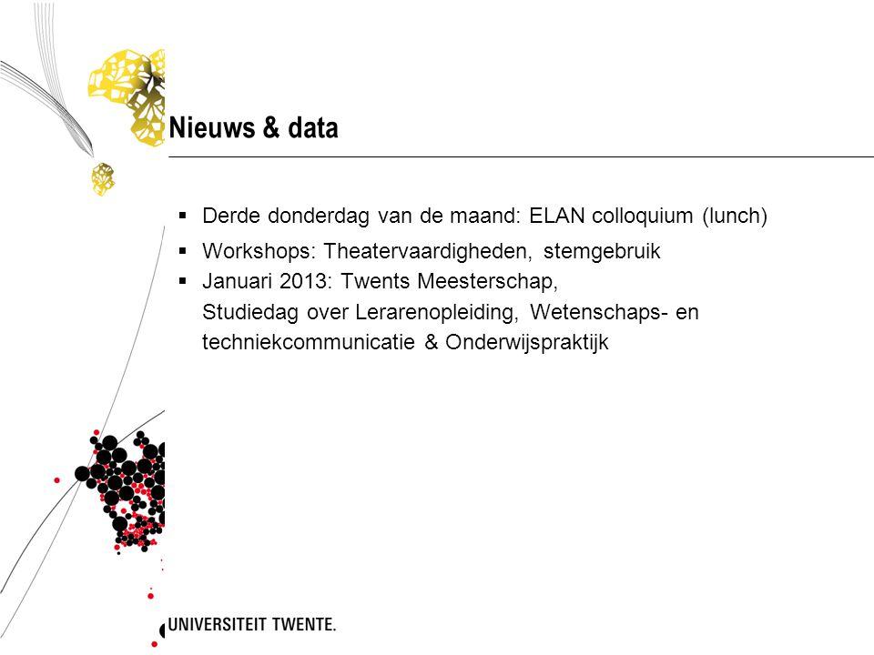 Nieuws & data  Derde donderdag van de maand: ELAN colloquium (lunch)  Workshops: Theatervaardigheden, stemgebruik  Januari 2013: Twents Meesterschap, Studiedag over Lerarenopleiding, Wetenschaps- en techniekcommunicatie & Onderwijspraktijk