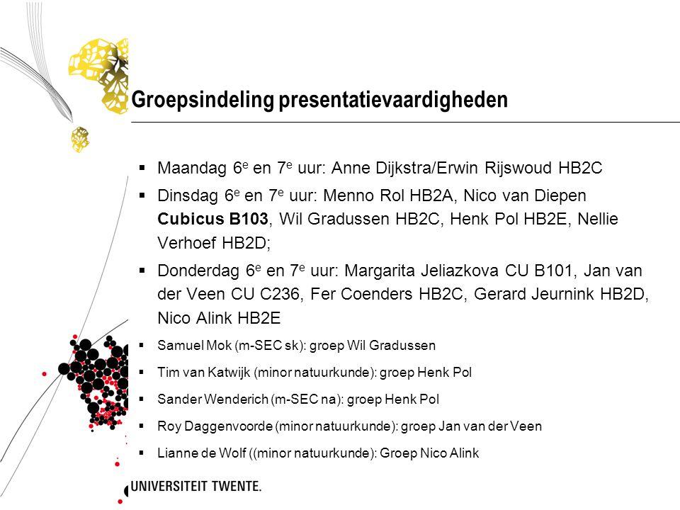 Groepsindeling presentatievaardigheden  Maandag 6 e en 7 e uur: Anne Dijkstra/Erwin Rijswoud HB2C  Dinsdag 6 e en 7 e uur: Menno Rol HB2A, Nico van Diepen Cubicus B103, Wil Gradussen HB2C, Henk Pol HB2E, Nellie Verhoef HB2D;  Donderdag 6 e en 7 e uur: Margarita Jeliazkova CU B101, Jan van der Veen CU C236, Fer Coenders HB2C, Gerard Jeurnink HB2D, Nico Alink HB2E  Samuel Mok (m-SEC sk): groep Wil Gradussen  Tim van Katwijk (minor natuurkunde): groep Henk Pol  Sander Wenderich (m-SEC na): groep Henk Pol  Roy Daggenvoorde (minor natuurkunde): groep Jan van der Veen  Lianne de Wolf ((minor natuurkunde): Groep Nico Alink