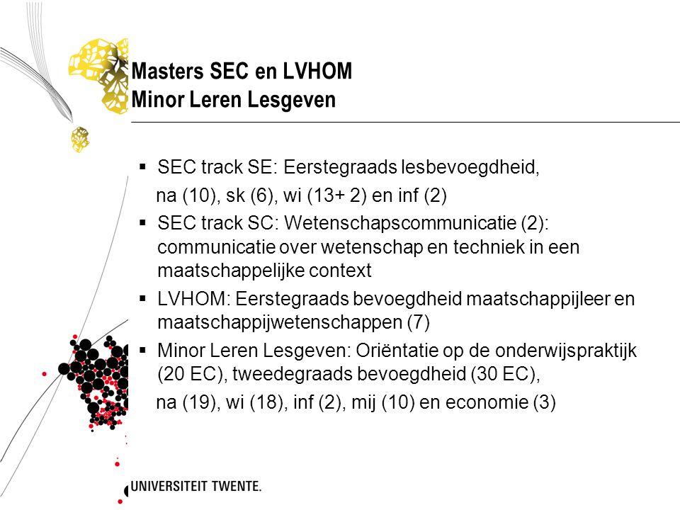 Masters SEC en LVHOM Minor Leren Lesgeven  SEC track SE: Eerstegraads lesbevoegdheid, na (10), sk (6), wi (13+ 2) en inf (2)  SEC track SC: Wetenschapscommunicatie (2): communicatie over wetenschap en techniek in een maatschappelijke context  LVHOM: Eerstegraads bevoegdheid maatschappijleer en maatschappijwetenschappen (7)  Minor Leren Lesgeven: Oriëntatie op de onderwijspraktijk (20 EC), tweedegraads bevoegdheid (30 EC), na (19), wi (18), inf (2), mij (10) en economie (3)