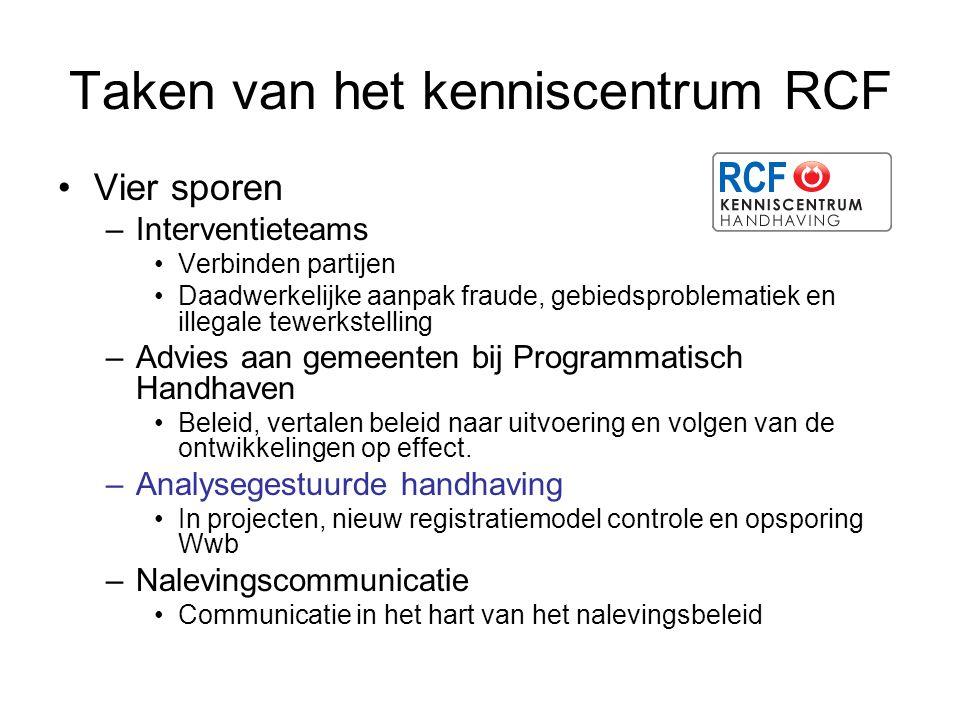 Taken van het kenniscentrum RCF Vier sporen –Interventieteams Verbinden partijen Daadwerkelijke aanpak fraude, gebiedsproblematiek en illegale tewerks