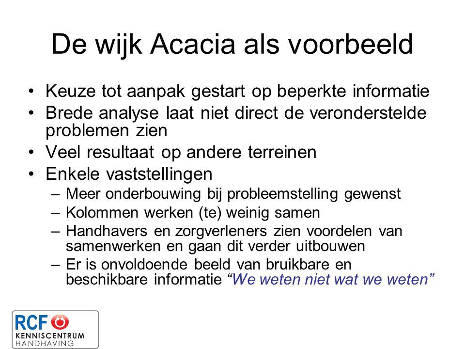 De wijk Acacia als voorbeeld Keuze tot aanpak gestart op beperkte informatie Brede analyse laat niet direct de veronderstelde problemen zien Veel resu