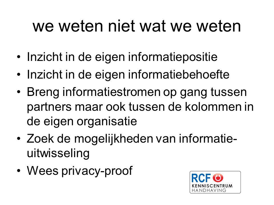 we weten niet wat we weten Inzicht in de eigen informatiepositie Inzicht in de eigen informatiebehoefte Breng informatiestromen op gang tussen partner
