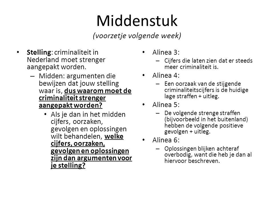 Middenstuk (voorzetje volgende week) Stelling: criminaliteit in Nederland moet strenger aangepakt worden. – Midden: argumenten die bewijzen dat jouw s