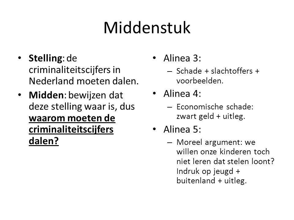 Middenstuk Stelling: de criminaliteitscijfers in Nederland moeten dalen. Midden: bewijzen dat deze stelling waar is, dus waarom moeten de criminalitei