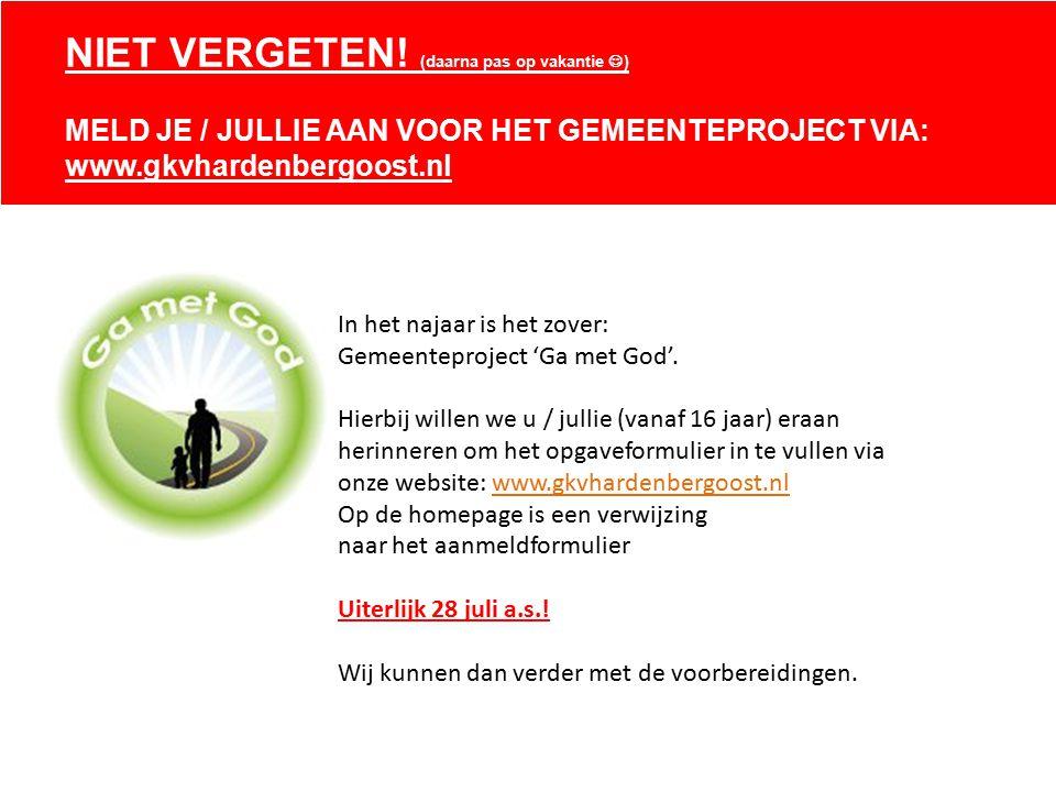 In het najaar is het zover: Gemeenteproject 'Ga met God'.