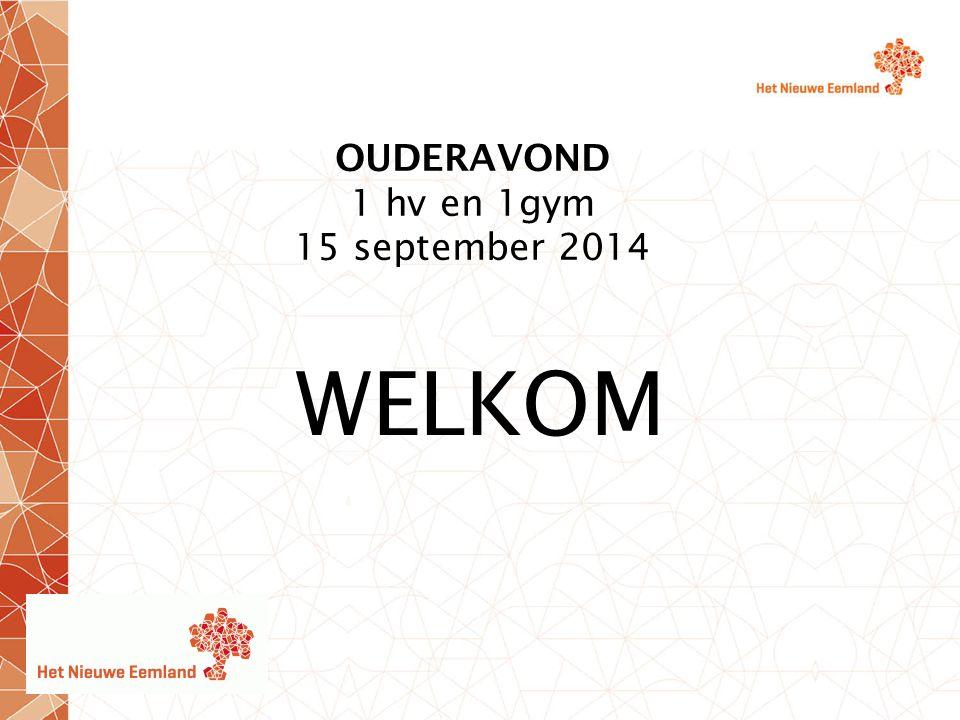 OUDERAVOND 1 hv en 1gym 15 september 2014 WELKOM