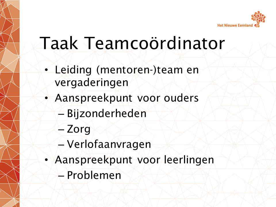 Taak Teamcoördinator Leiding (mentoren-)team en vergaderingen Aanspreekpunt voor ouders – Bijzonderheden – Zorg – Verlofaanvragen Aanspreekpunt voor leerlingen – Problemen
