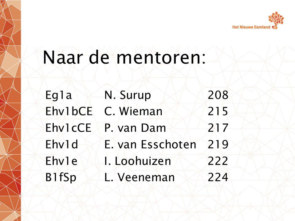 Naar de mentoren: Eg1aN. Surup208 Ehv1bCEC. Wieman215 Ehv1cCEP.