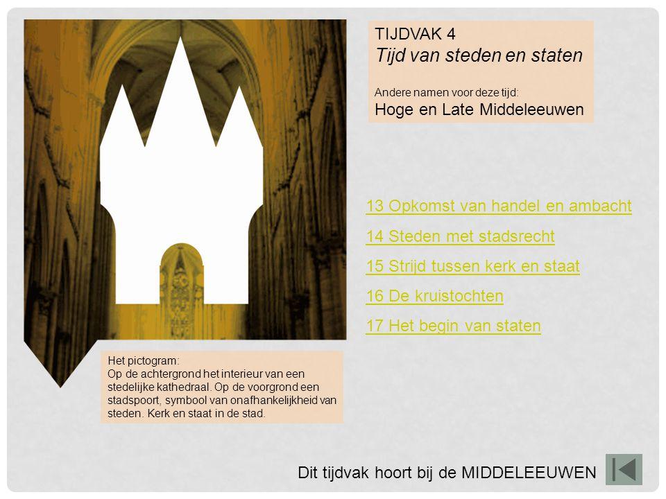 TIJDVAK 4 Tijd van steden en staten Andere namen voor deze tijd: Hoge en Late Middeleeuwen 13 Opkomst van handel en ambacht 14 Steden met stadsrecht 1