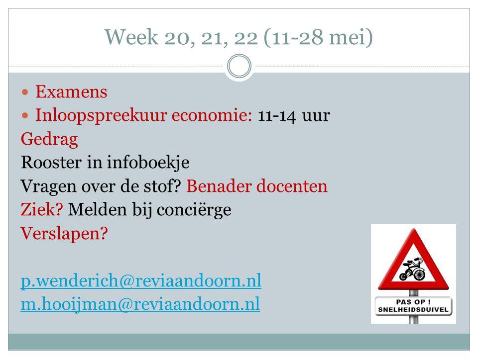 Week 20, 21, 22 (11-28 mei) Examens Inloopspreekuur economie: 11-14 uur Gedrag Rooster in infoboekje Vragen over de stof? Benader docenten Ziek? Melde