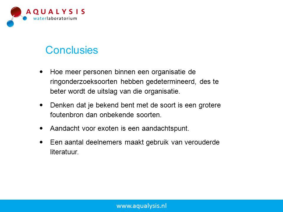 www.aqualysis.nl  Hoe meer personen binnen een organisatie de ringonderzoeksoorten hebben gedetermineerd, des te beter wordt de uitslag van die organ