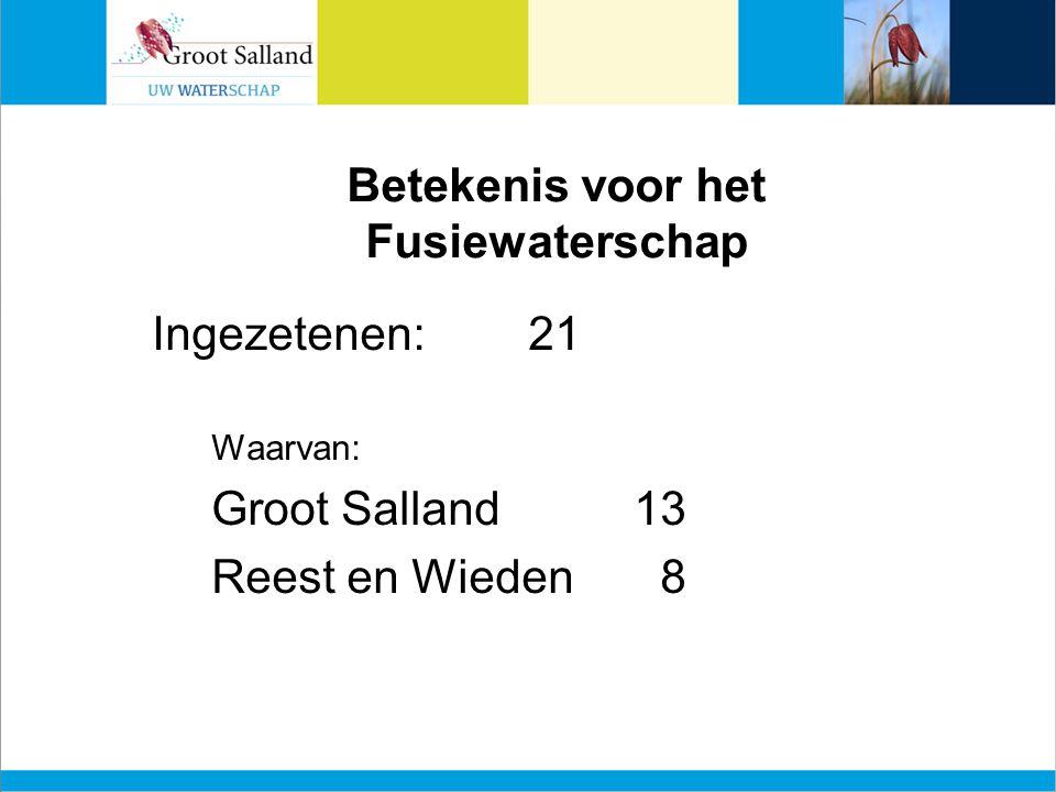 Betekenis voor het Fusiewaterschap Ingezetenen:21 Waarvan: Groot Salland13 Reest en Wieden 8