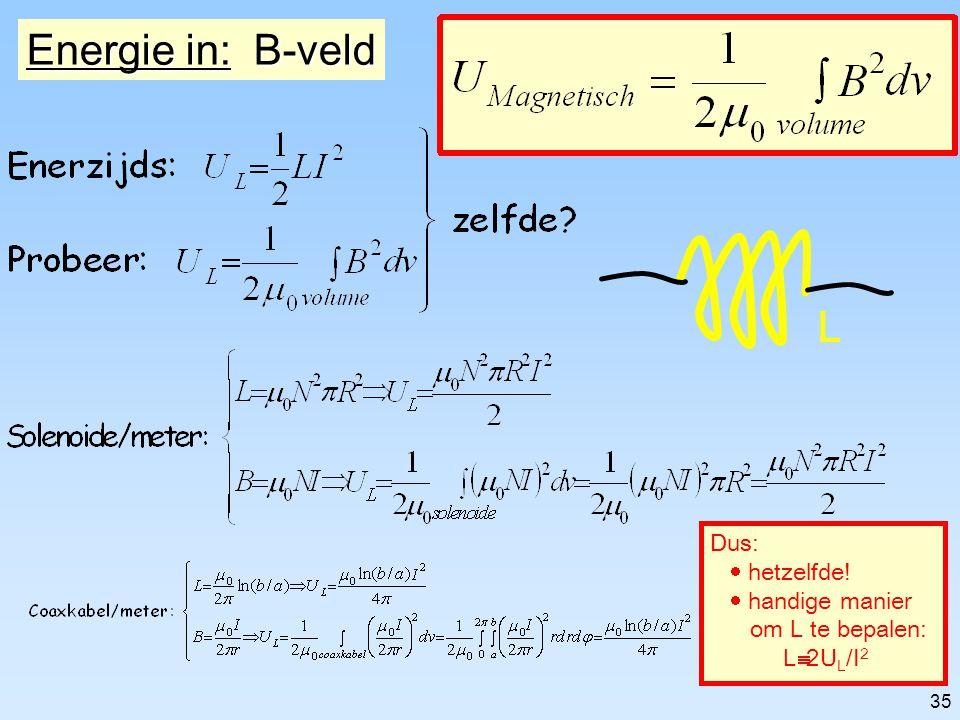 34 Energie in: E-veld A: oppervlak d: plaatafstand C E  0 in het volume=dA