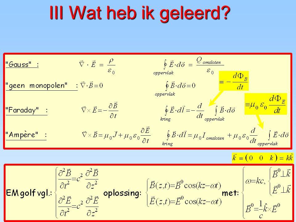 49 x y z x y Eigenschappen als plaatjes E  B E  v B  v |v|=c =c E B EM golf in de tijd http://webphysics.davidson.edu/Applets/E MWave/EMWave.html B