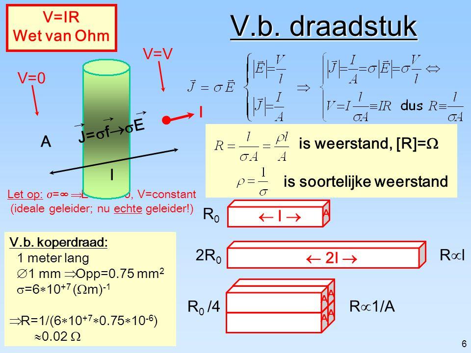 5 Waarom stroomt lading? Materiaal [  ]=(  m) -1 ___________________________ geleider koper 6  10 +7 goud 4  10 +7 half-geleider silicium 30 germa