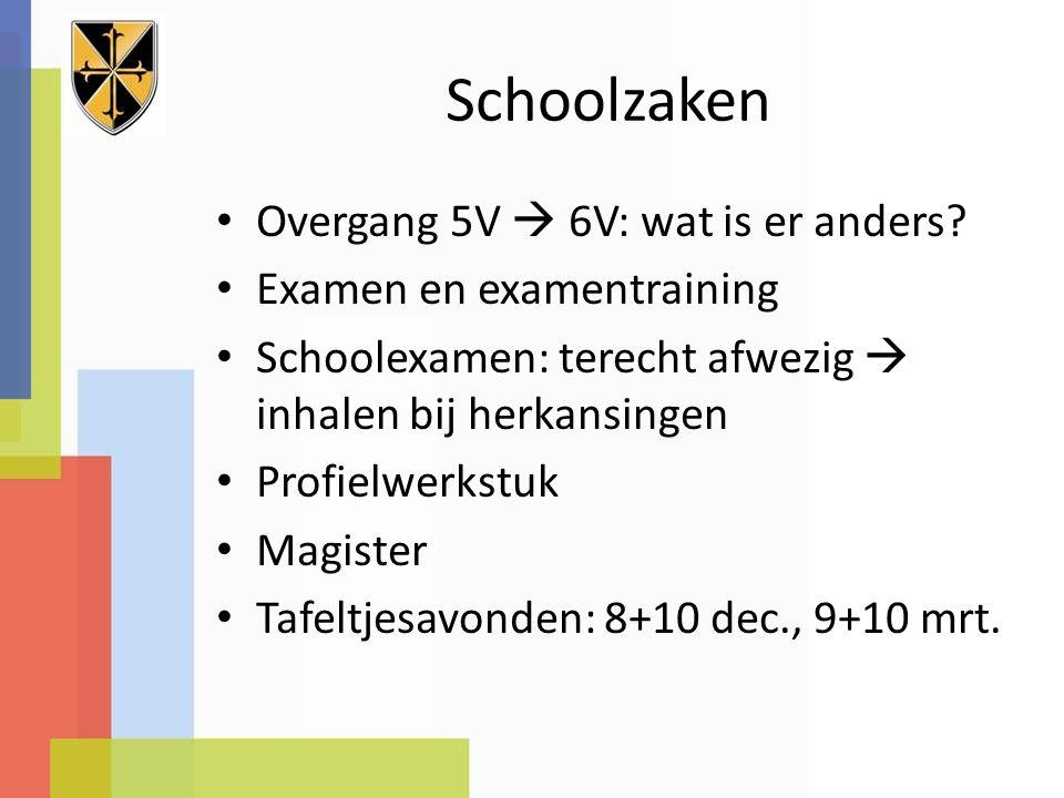 Schoolzaken Overgang 5V  6V: wat is er anders.