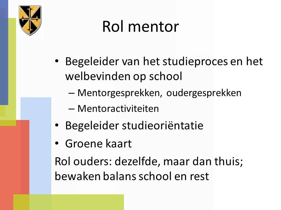 Rol mentor Begeleider van het studieproces en het welbevinden op school – Mentorgesprekken, oudergesprekken – Mentoractiviteiten Begeleider studieorië