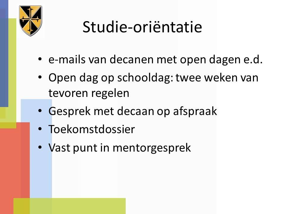 Studie-oriëntatie e-mails van decanen met open dagen e.d.
