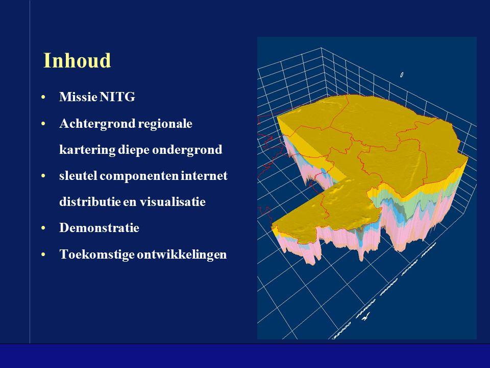 Inhoud Missie NITG Achtergrond regionale kartering diepe ondergrond sleutel componenten internet distributie en visualisatie Demonstratie Toekomstige