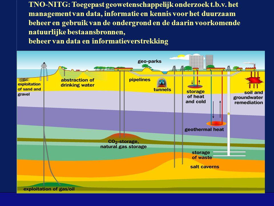 TNO-NITG: Toegepast geowetenschappelijk onderzoek t.b.v. het management van data, informatie en kennis voor het duurzaam beheer en gebruik van de onde