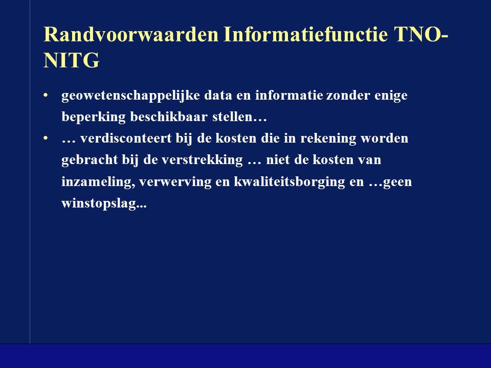 Randvoorwaarden Informatiefunctie TNO- NITG geowetenschappelijke data en informatie zonder enige beperking beschikbaar stellen… … verdisconteert bij d