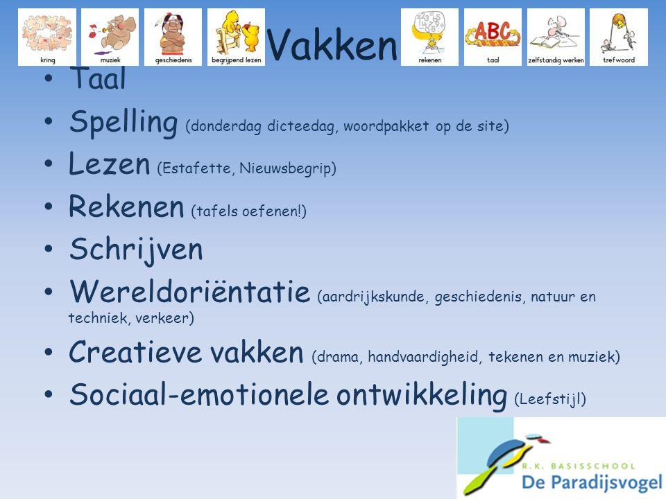 Vakken Taal Spelling (donderdag dicteedag, woordpakket op de site) Lezen (Estafette, Nieuwsbegrip) Rekenen (tafels oefenen!) Schrijven Wereldoriëntati