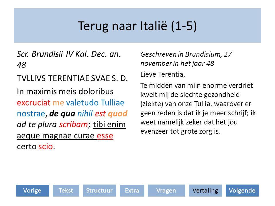 Terug naar Italië (1-5) Geschreven in Brundisium, 27 november in het jaar 48 Lieve Terentia, Te midden van mijn enorme verdriet kwelt mij de slechte gezondheid (ziekte) van onze Tullia, waarover er geen reden is dat ik je meer schrijf; ik weet namelijk zeker dat het jou evenzeer tot grote zorg is.