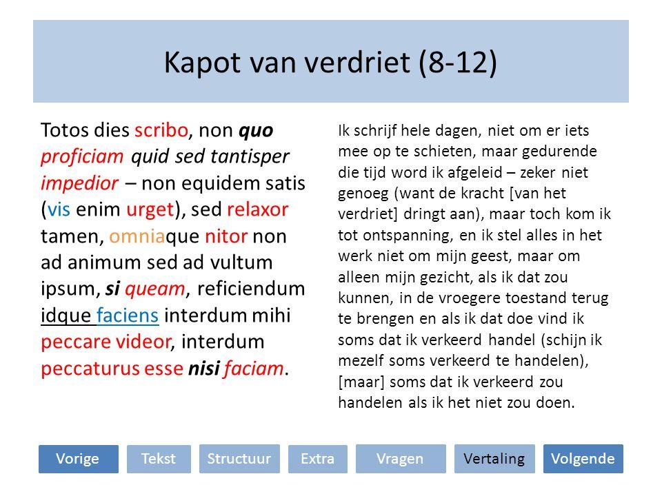 Kapot van verdriet (12-15) VertalingStructuur TekstExtraVorige VragenVolgende Solitudo aliquid adiuvat, sed multo plus proficeret si tu tamen interesses.