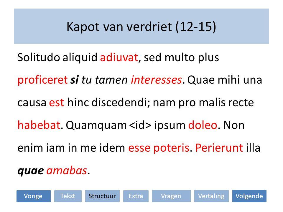 Kapot van verdriet (12-15) Solitudo aliquid adiuvat, sed multo plus proficeret si tu tamen interesses.