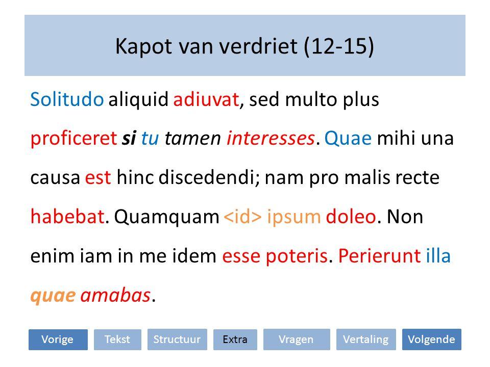 Kapot van verdriet (12-15) VertalingStructuur TekstExtraVorige VragenVolgende 1.Verklaar het gebruik van de modus.