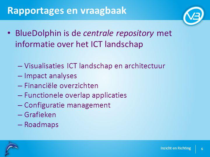Inzicht en Richting Rapportages en vraagbaak 6 BlueDolphin is de centrale repository met informatie over het ICT landschap – Visualisaties ICT landschap en architectuur – Impact analyses – Financiële overzichten – Functionele overlap applicaties – Configuratie management – Grafieken – Roadmaps