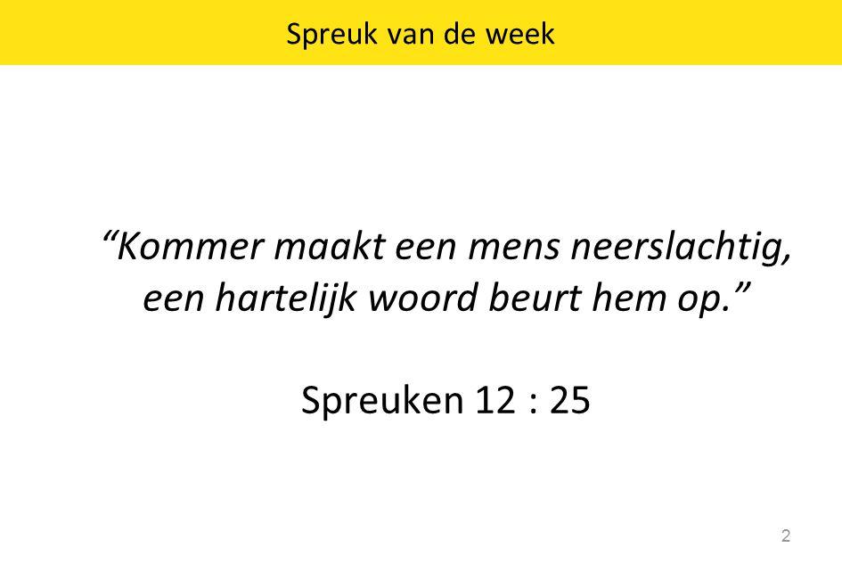 Spreuk van de week 2 Kommer maakt een mens neerslachtig, een hartelijk woord beurt hem op. Spreuken 12 : 25