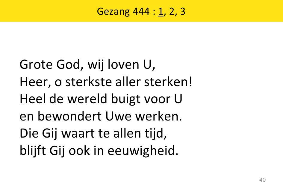 Grote God, wij loven U, Heer, o sterkste aller sterken.